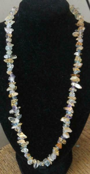 "Fluorite and Citrine Chip Necklace 16"" to 34"", Long Necklace, Short Necklace"